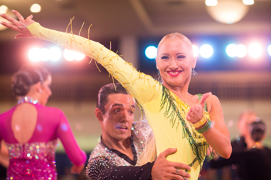 Hundreds of ballroom dance couples of all ages vie for championship titles in the open categories of Latin, Ballrom, Smooth, Rhythm and Cabaret.